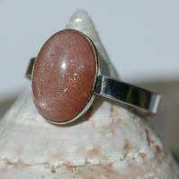 Pink Moonstone Ring with Sterling Silver, Hallmarked