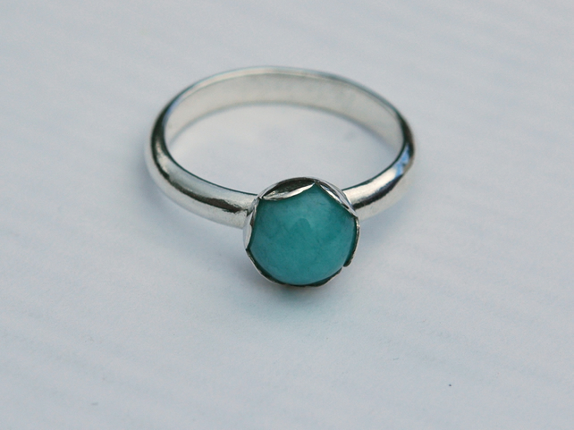 Peruvian Amazonite Ring with Sterling Silver, Hallmarked, size Q,  R133