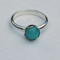 Peruvian Amazonite Ring with Sterling Silver, Hallmarked, size Q