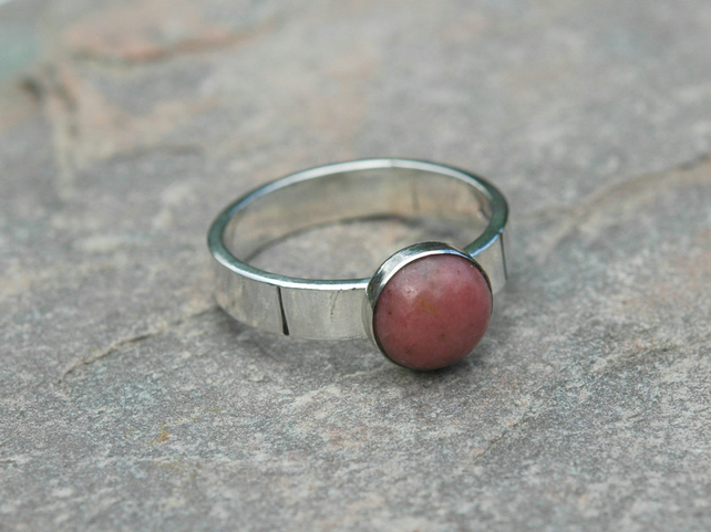 Sterling Silver Ring with Pink Rhodonite Gemstone, size O, Hallmarked