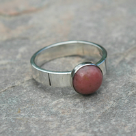 Sterling Silver Ring with Pink Rhodonite Gemstone, size O, Hallmarked,  R131
