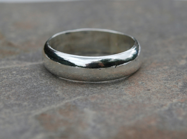 Chunky Silver Ring, 6mm Wide, Unisex, size R
