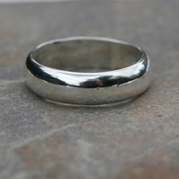 Chunky Silver Ring, 6mm Wide, Unisex, size T