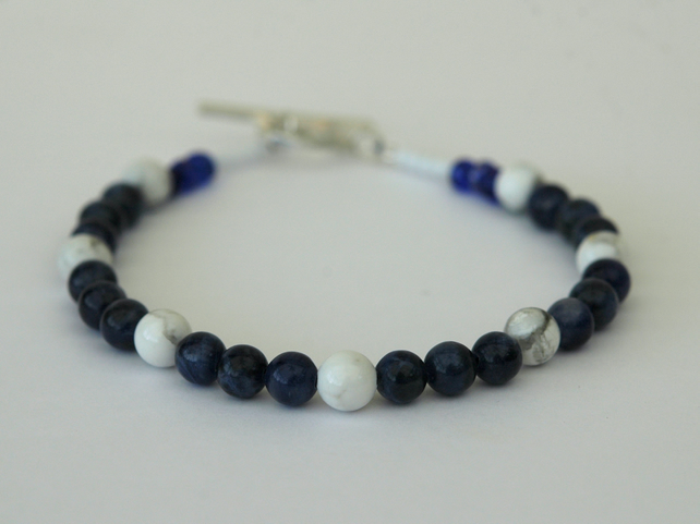 Sodalite and White Howlite Beaded Bracelet with Sterling Silver, Medium