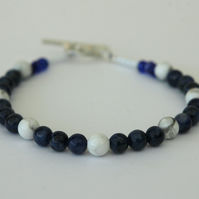 Sodalite and White Howlite Beaded Bracelet with Sterling Silver, Medium,   B113