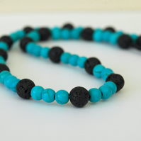 Turquoise and Black Lava Rock Beaded Necklace with Silver Clasp,  P164