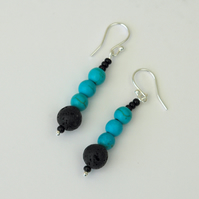 Turquoise and Lava Rock Drop Earrings with Sterling Silver