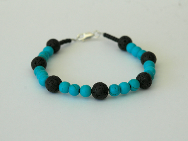 Turquoise and Black Lava Rock Beaded Bracelet with Silver Clasp,  B114