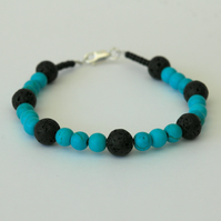 Turquoise and Black Lava Rock Beaded Bracelet with Silver Clasp