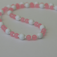 Rose Quartz Necklace with Sterling Silver Clasp,  P165