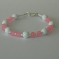 Rose Quartz and Sterling Silver Beaded Bracelet,  B115