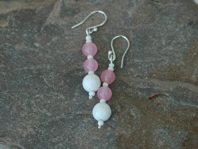 Rose Quartz Gemstone Drop Earrings with Sterling Silver,  E121