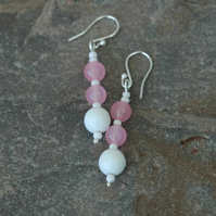 Rose Quartz Gemstone Drop Earrings with Sterling Silver