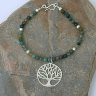 Sterling Silver and Green Moss Agate Bracelet with Tree of Life Charm,  B116
