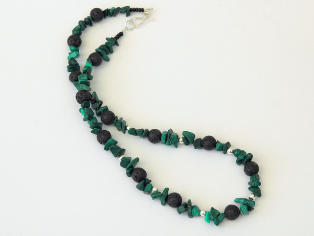 Sterling Silver and Malachite Necklace with Black Lava Rock,  P166