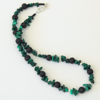 Sterling Silver and Malachite Necklace with Black Lava Rock