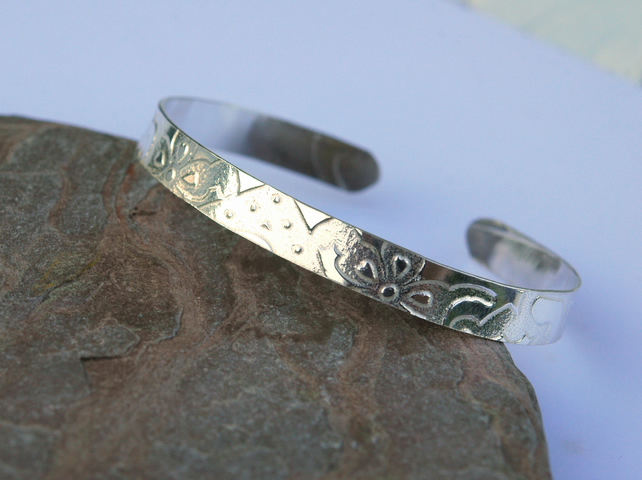 Sterling Silver Cuff Bangle with Imprinted Pattern