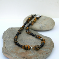 Gemstone and Sterling Silver Necklace with Tiger's Eye and Black Agate