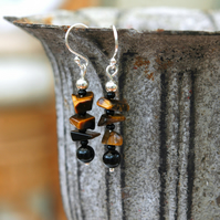 Sterling Silver Gemstone Drop Earrings with Tiger's Eye and Black Agate,  E124