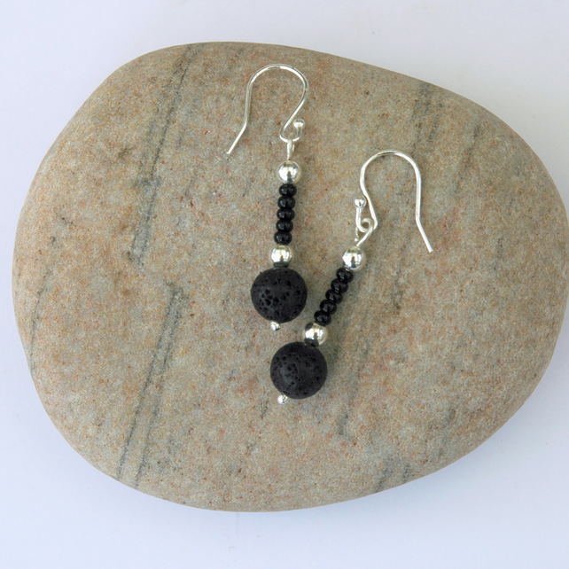 Sterling Silver Drop Earrings with Black Lava Rock,  E125