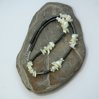 Haematite and Mother-of-Pearl Gemstone Necklace with Sterling Silver, P168