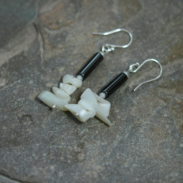 Sterling silver Drop Earrings with Mother of Pearl and Haematite,  E126