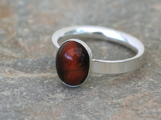 Sterling Silver Gemstone Ring with Oval Red Tiger's Eye,  size P,   R136