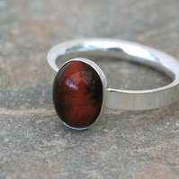 Sterling Silver Gemstone Ring with Oval Red Tiger's Eye,  size P
