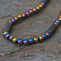 Rainbow Haematite Gemstone Necklace with Sterling Silver Clasp,  P169
