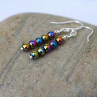 Rainbow Haematite and Sterling Silver Drop Earrings,  E127