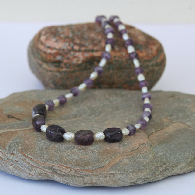 Amethyst and Pearl Gemstone Necklace with Sterling Silver,  February Birthstone.