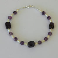 Amethyst and Pearl Bracelet with Sterling Silver