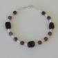 Amethyst and Pearl Bracelet with Sterling Silver,  B119