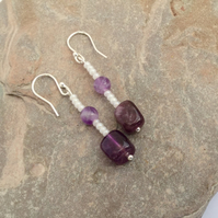 Amethyst and Sterling Silver Drop Earrings,  February Birthstone.