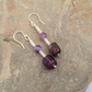 Amethyst and Sterling Silver Drop Earrings,  E128