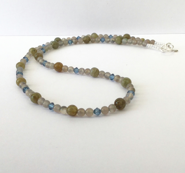 Labradorite and Agate Gemstone Necklace with Sterling Silver,  P171