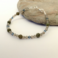 Labradorite and Grey Agate Bracelet with Sterling Silver,  B120
