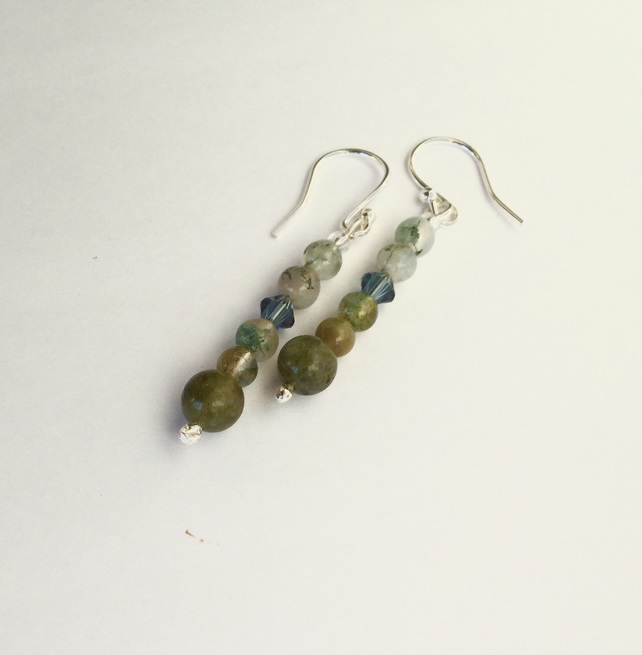 Labradorite, Agate  and Sterling Silver Drop Earrings,  E129