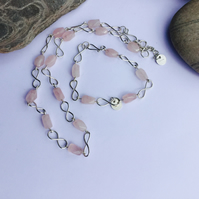 Sterling Silver Infinity Link Necklace and Bracelet set with Rose Quartz,  S1