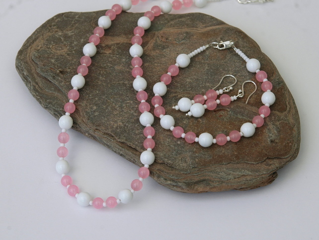 Sterling Silver and Rose Quartz Necklace, Bracelet and Earring Set, S3