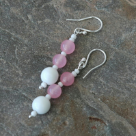 Sterling Silver and Rose Quartz Necklace and Earring Set