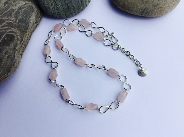 Infinity Link Necklace in Sterling Silver with Rose Quartz, Hallmarked,  P125