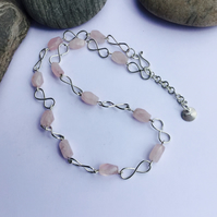 Infinity Link Necklace in Sterling Silver with Rose Quartz, Hallmarked