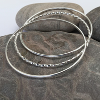 Trio of Sterling Silver Stacking Bangles, Hallmarked, B121