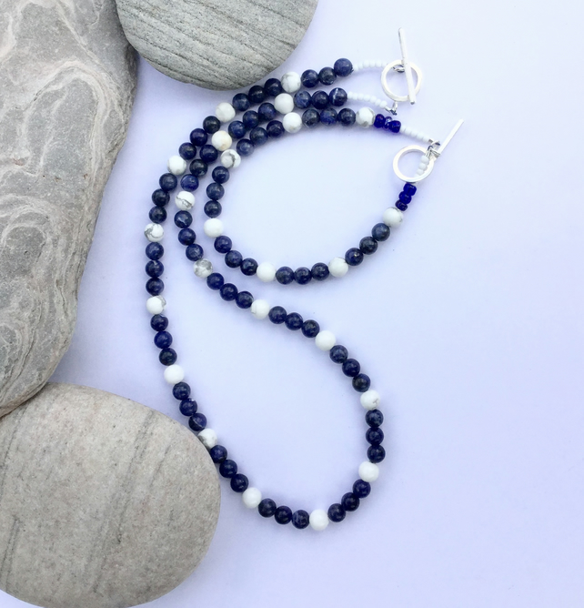 Sodalite and White Howlite Necklace and Bracelet with Sterling Silver, S4