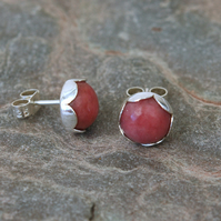 Sterling Silver and Rhodonite Flower Petal Stud Earrings,  E130