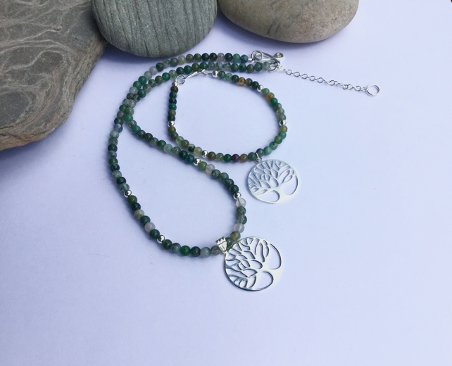 Sterling Silver and Green Moss Agate Necklace and Bracelet with Tree Charms,  S5