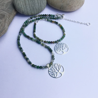 Sterling silver and Green Moss Agate Jewellery Set with Tree Charm,  S5
