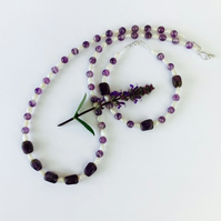 Amethyst, Pearl and Silver Necklace, Bracelet  and Earrings, Jewellery Set