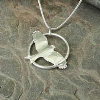 'Red Kite' Sterling Silver Pendant with Flying Bird,   P172